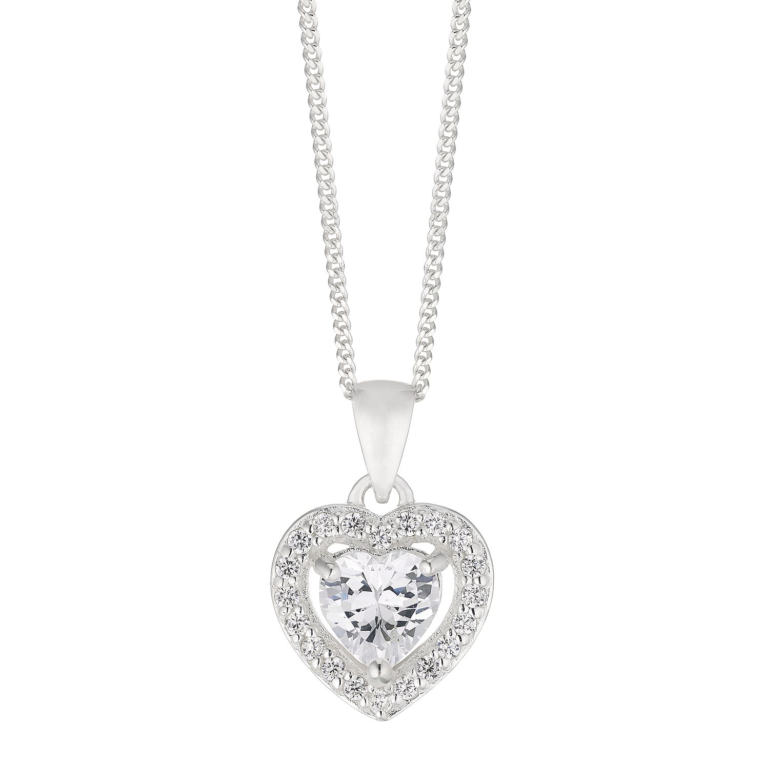 Silver Cubic Zirconia Heart Pendant - Product number 4819284