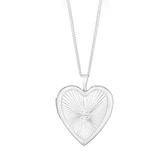 Silver Diamond Cut Heart Locket - Product number 4819330