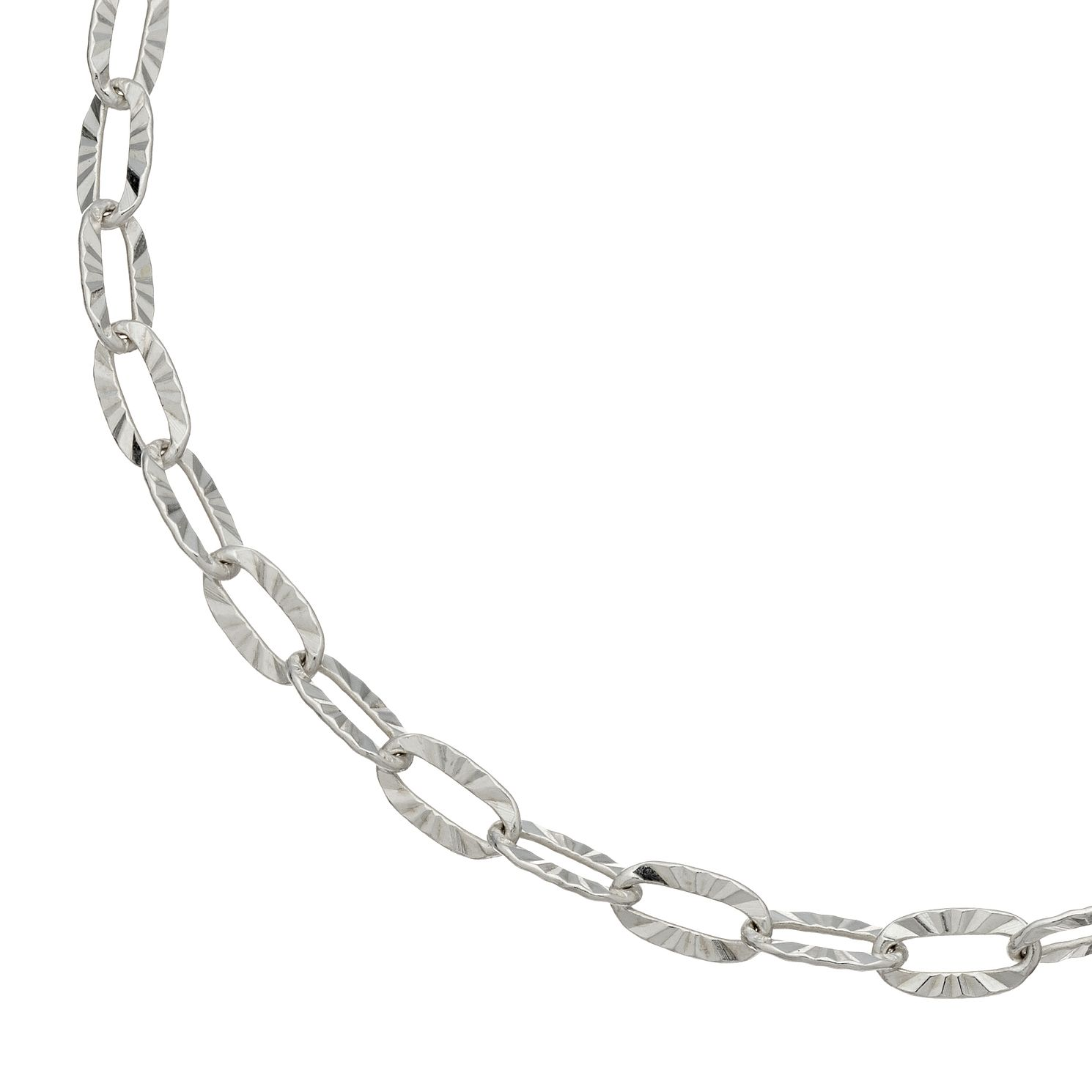 Silver 7 Inch Diamond Cut Oval Trace Chain Bracelet - Product number 4819527
