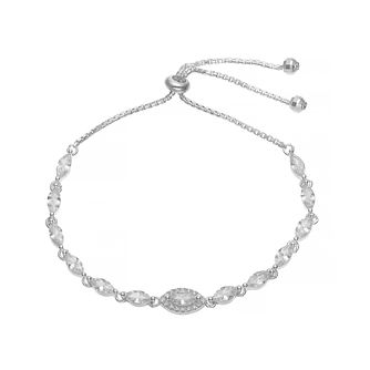 Silver Cubic Zirconia Marquise Adjustable Bracelet - Product number 4819551