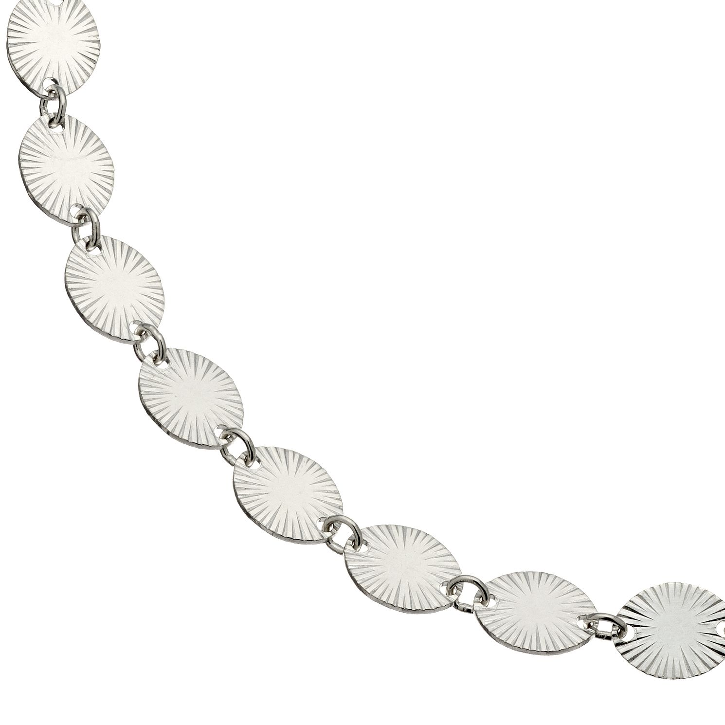 Sterling Silver Starburst Oval Disc Bracelet - Product number 4819586