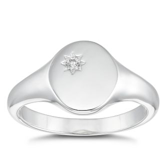 Silver Cubic Zirconia Round Signet Ring - Size L - Product number 4819918