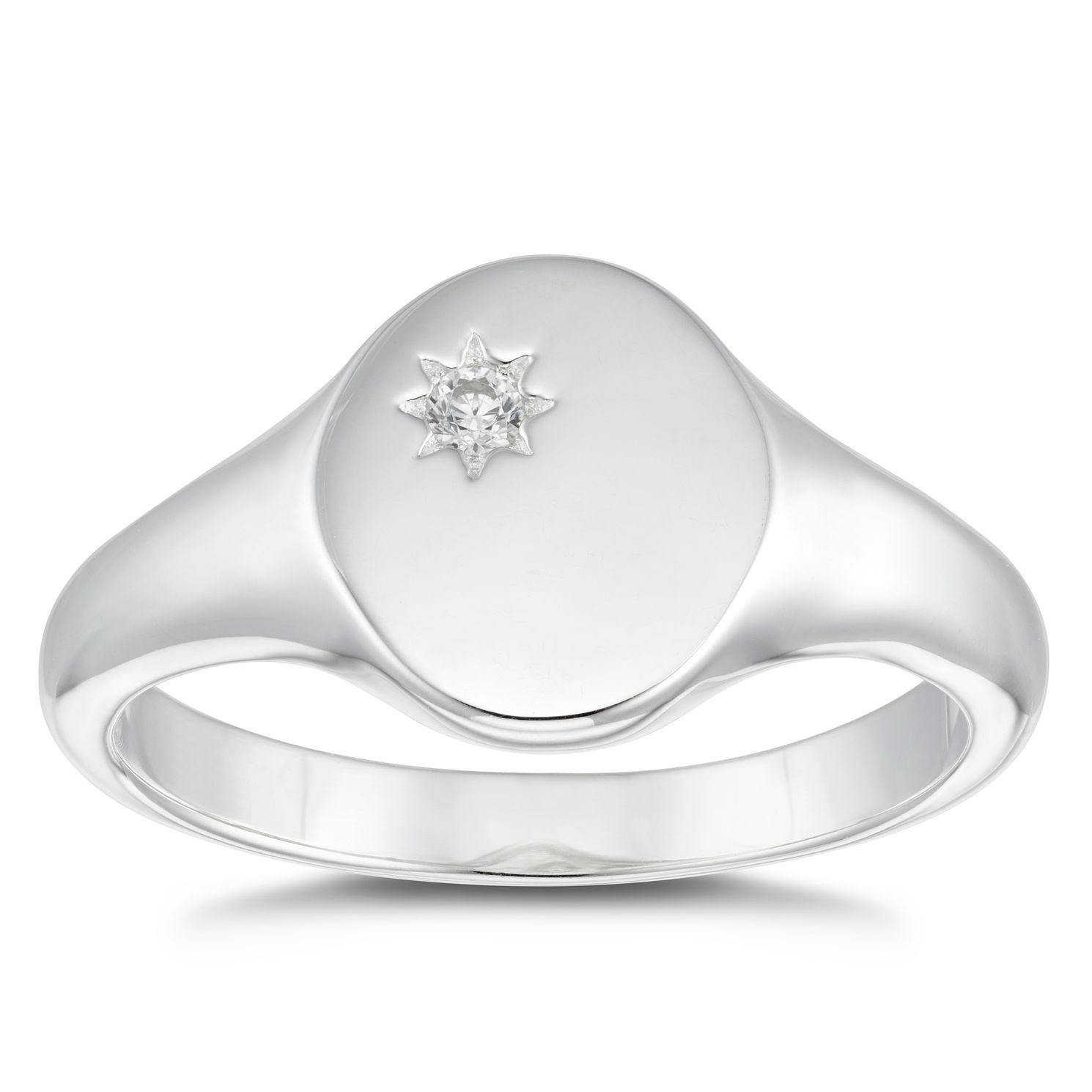Silver Cubic Zirconia Round Signet Ring - Size N - Product number 4819926