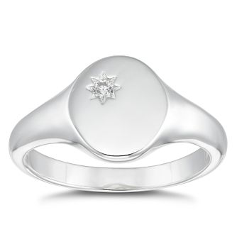 Silver Cubic Zirconia Round Signet Ring - Size P - Product number 4819977