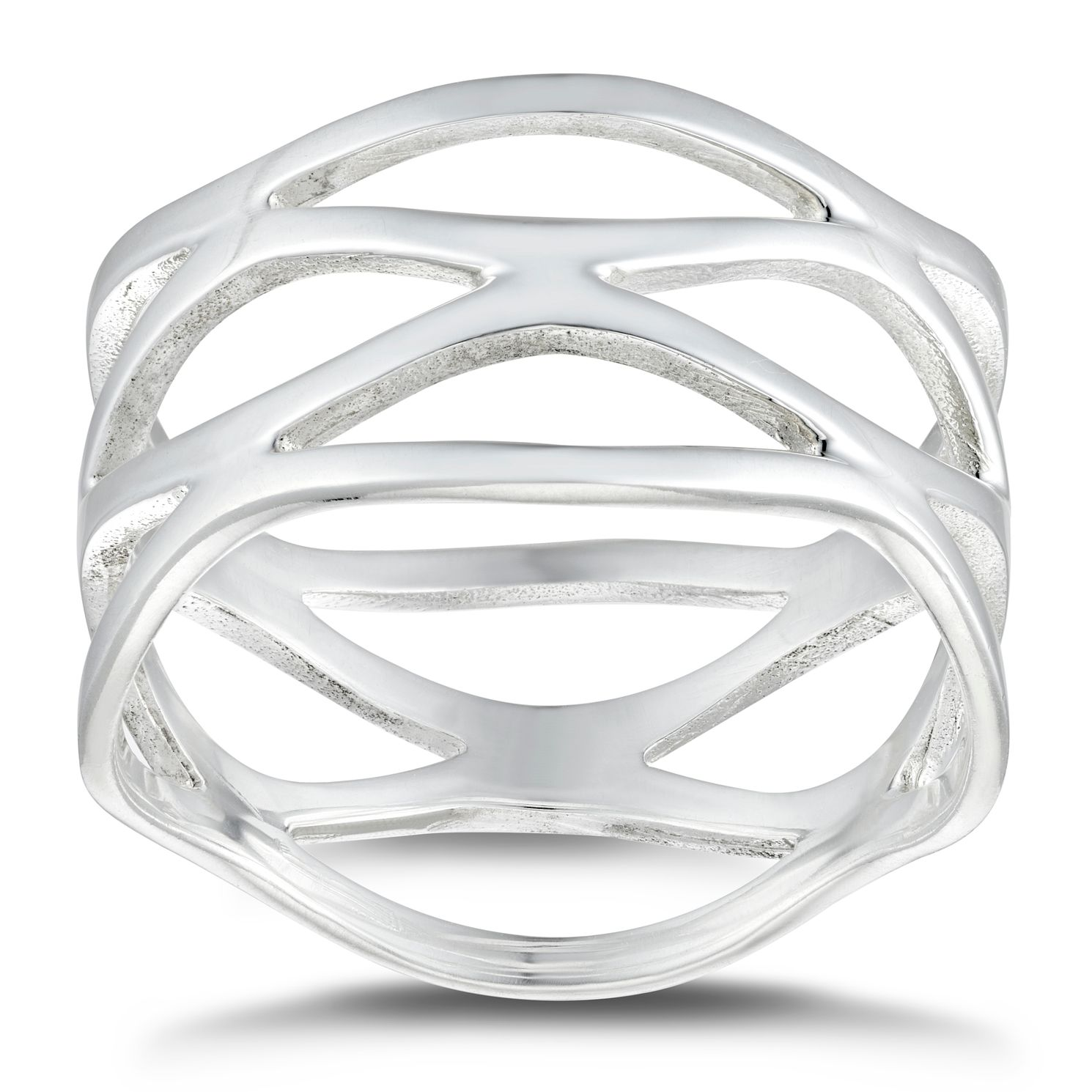 Silver 4-Strand Open Wave Ring - Size L - Product number 4820029