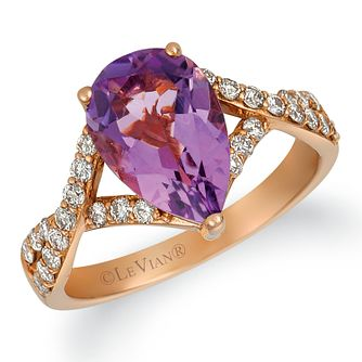 Le Vian 14ct Strawberry Gold 0.37ct Diamond & Amethyst Ring - Product number 4821351