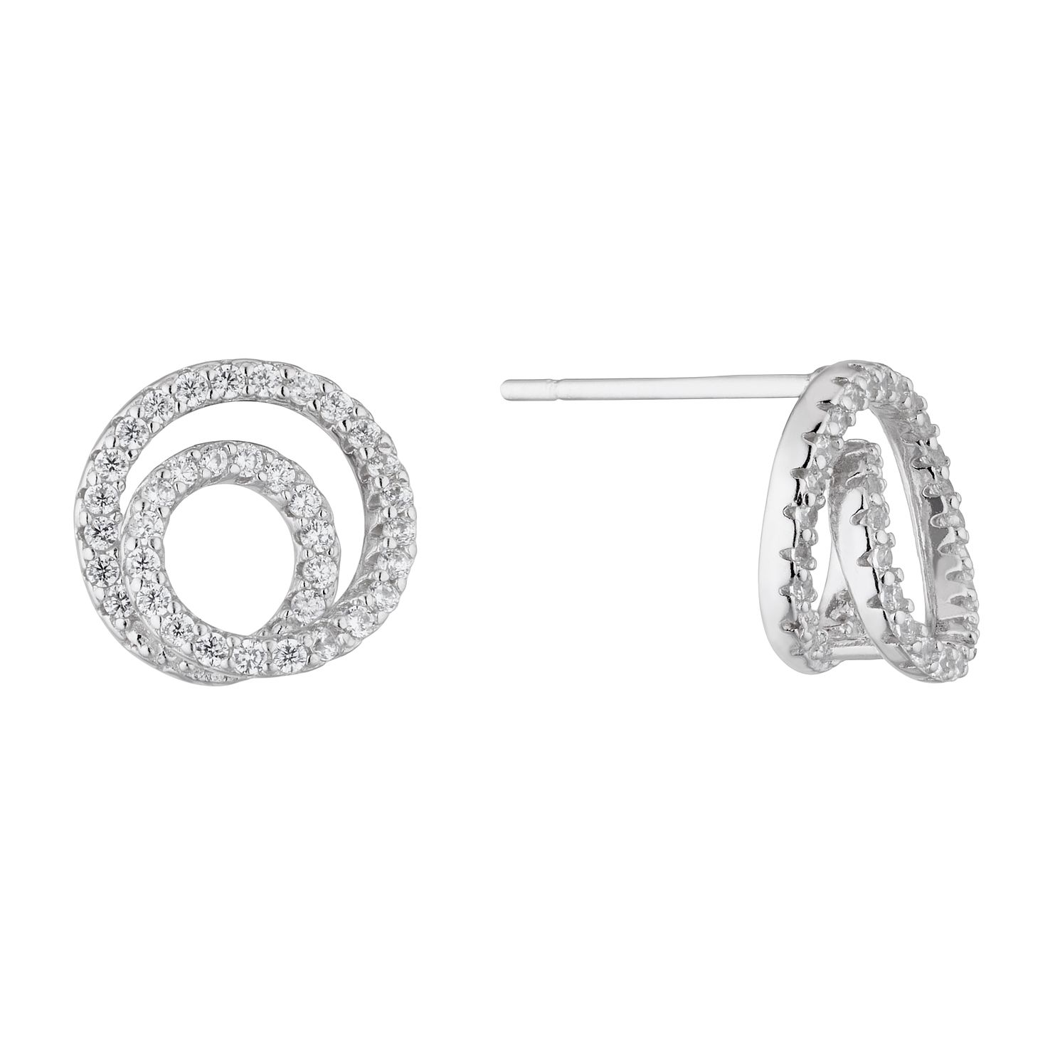 Silver Double Circle Cubic Zirconia Stud Earrings - Product number 4827961