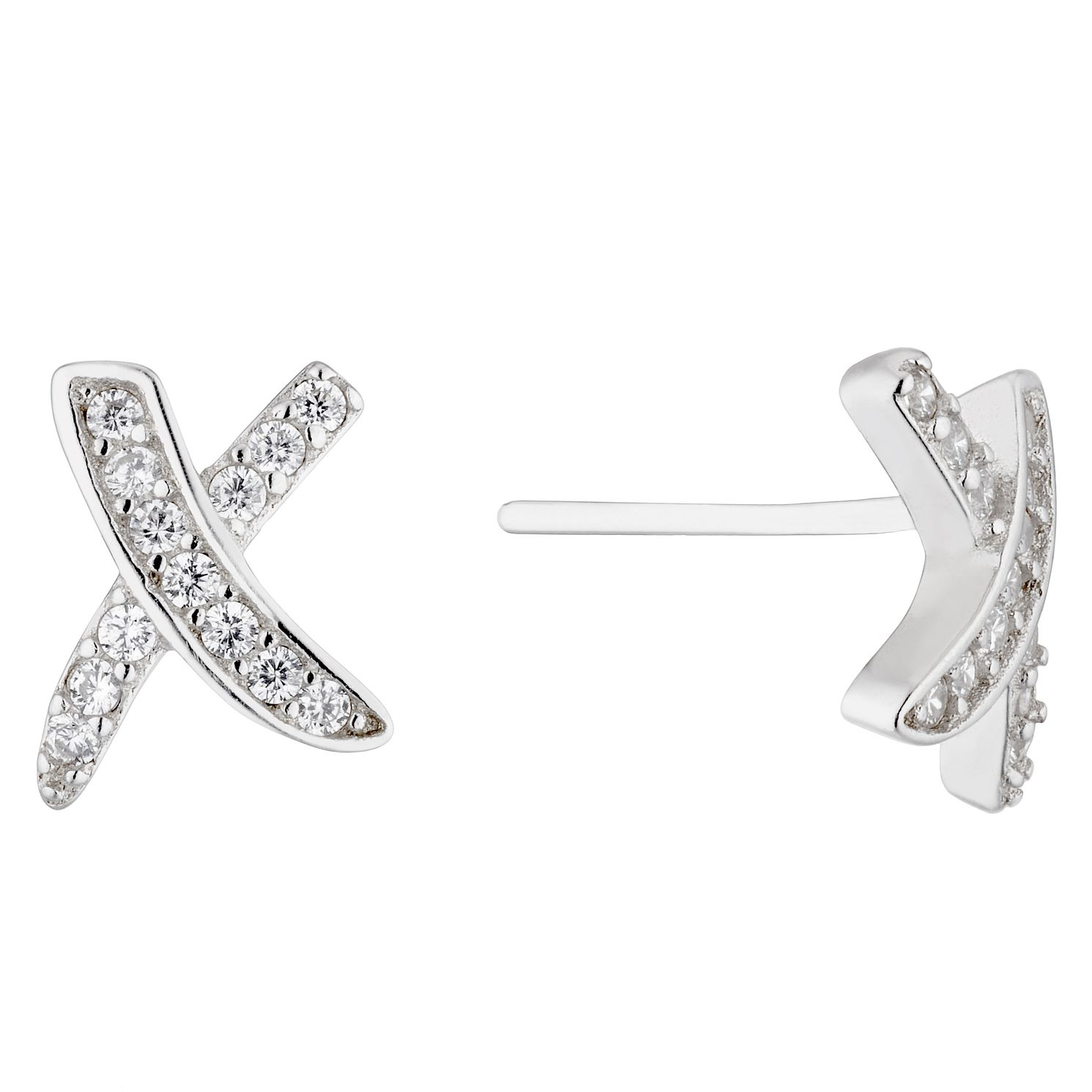 Silver Cubic Zirconia Kiss Stud Earrings - Product number 4827988