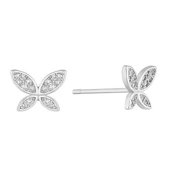 Silver Cubic Zirconia Butterfly Stud Earrings - Product number 4827996