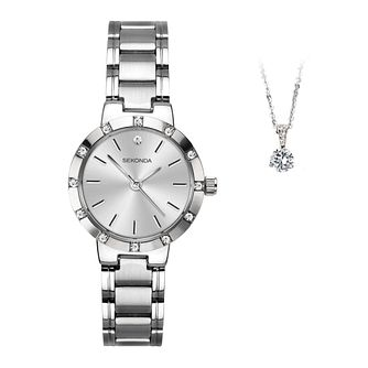 Sekonda Silver Tone Crystal Ladies' Watch & Pendant Gift Set - Product number 4828089