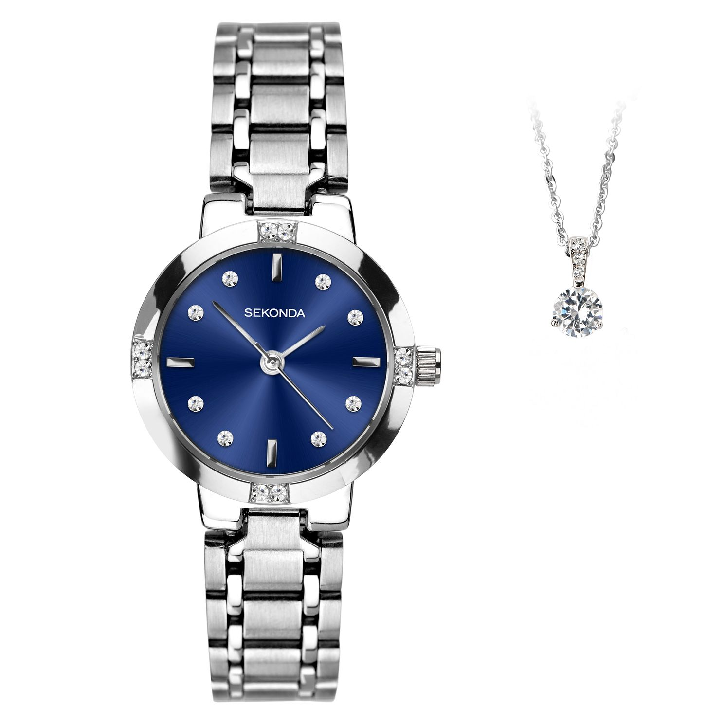 Sekonda Silver Tone Crystal Ladies' Watch & Pendant Gift Set - Product number 4828097