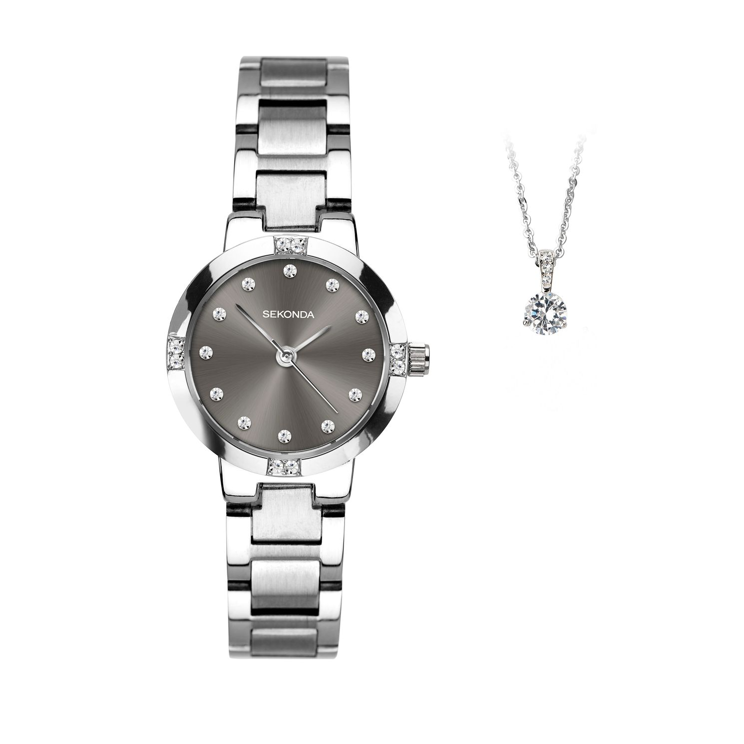 Sekonda Silver Tone Crystal Ladies' Watch & Pendant Gift Set - Product number 4828100