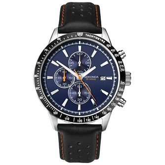 Sekonda Men's Dark Blue And Black Leather Strap Watch - Product number 4828119