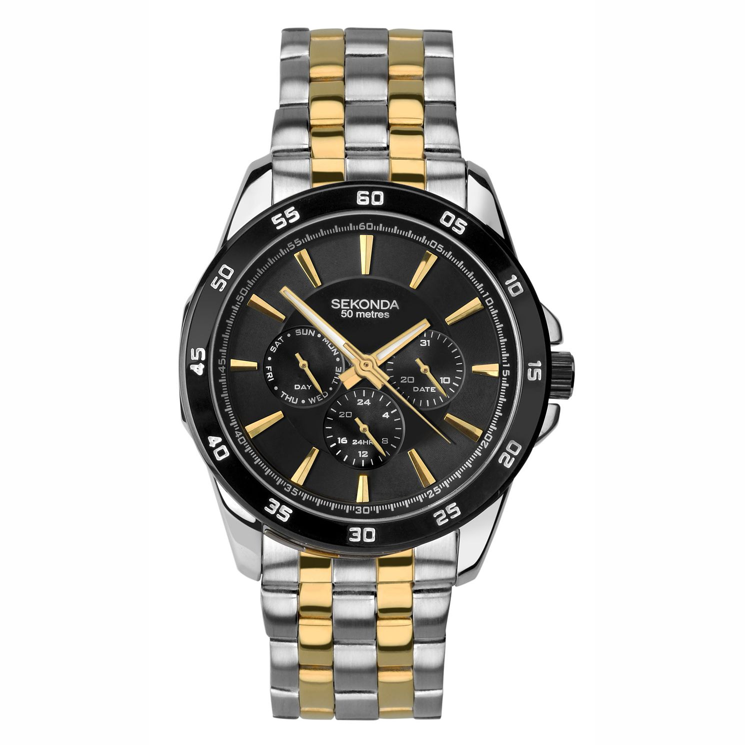 Sekonda Men's Two Tone With Black Dial Bracelet Wacth - Product number 4828127