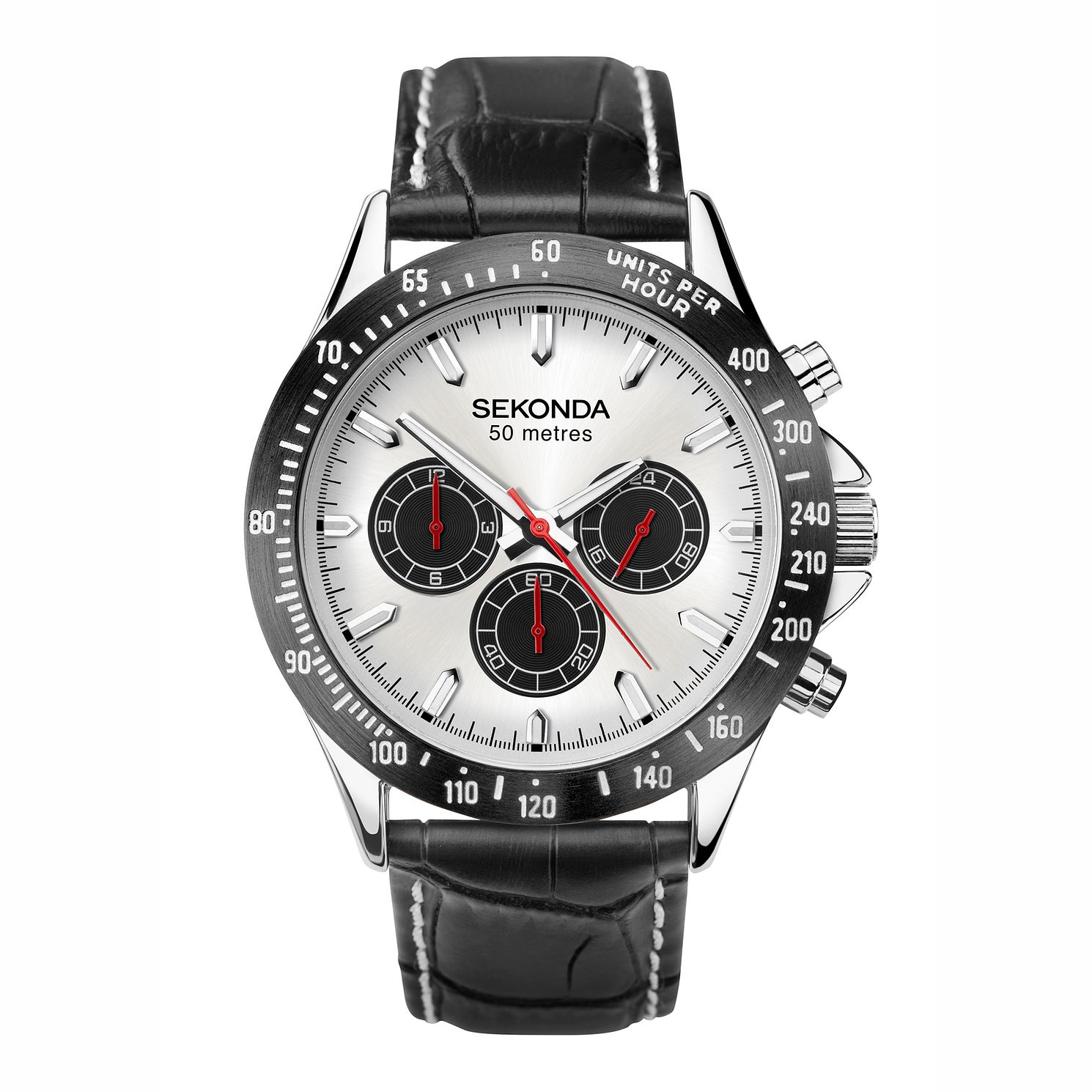 Sekonda Men's Silver and Black Leather Watch Strap Watch - Product number 4828143
