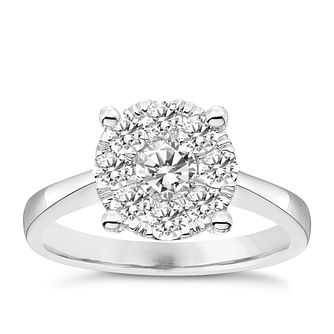 9ct 3/4ct Diamond Solitaire Cluster Ring - Product number 4834607