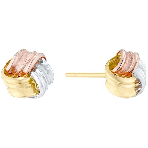 9ct Yellow White & Rose Gold Ridged Knot Stud Earrings - Product number 4835514