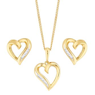 9ct Yellow Gold Cubic Zirconia Heart Pendant & Earring Set - Product number 4836790