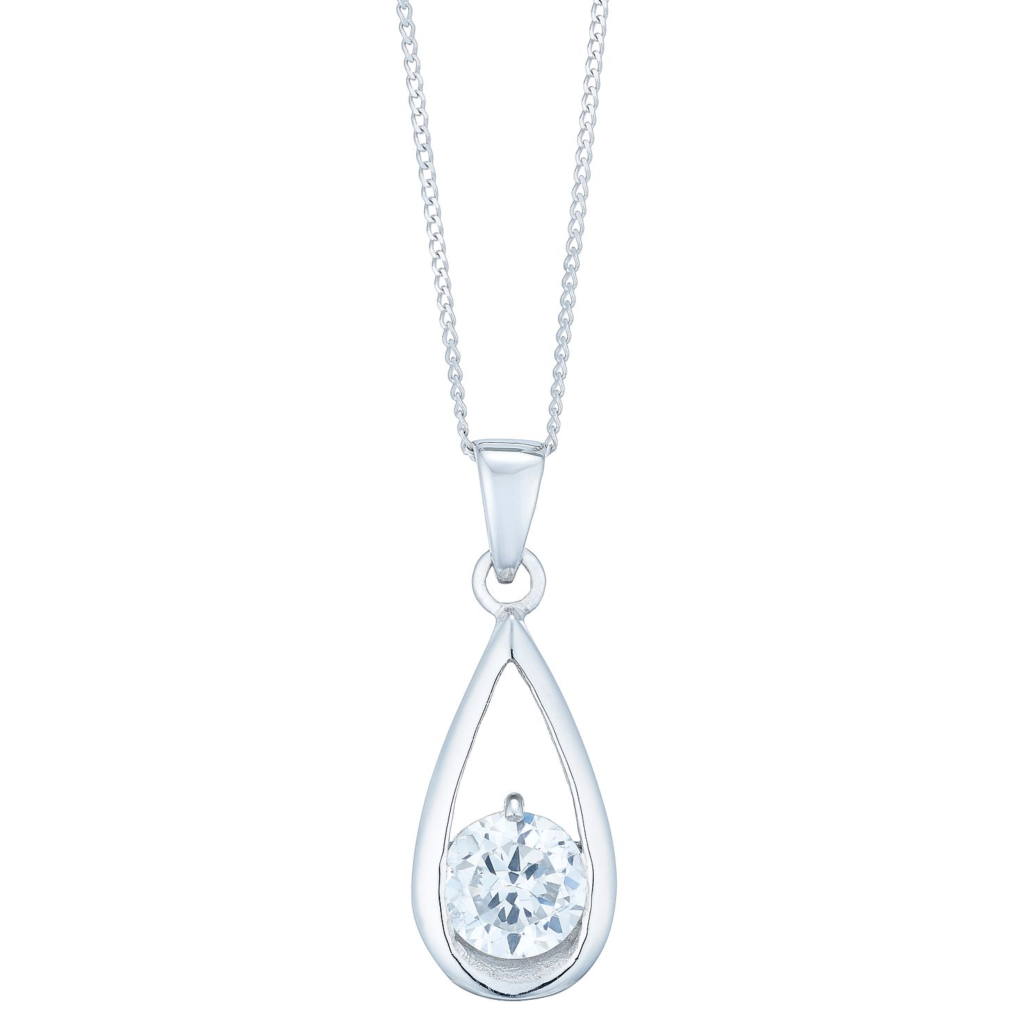 9ct White Gold Cubic Zirconia Teardrop Pendant - Product number 4837037