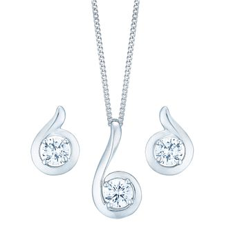 9ct White Gold Cubic Zirconia Swirl Set - Product number 4837096