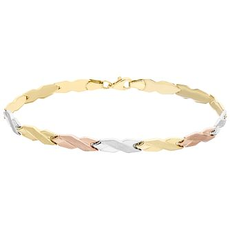9ct Yellow White and Rose Gold Kiss Bracelet - Product number 4837150