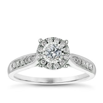 9ct White Gold 1/3ct Diamond Illusion Set Cluster Ring - Product number 4837355