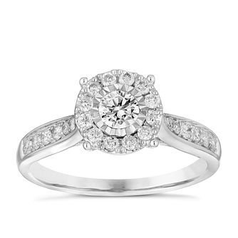 9ct White Gold 1/2ct Diamond Illusion Set Cluster Ring - Product number 4837509