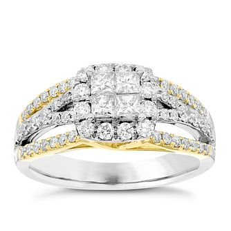 18ct Yellow and White Gold 1ct Diamond Cluster Ring - Product number 4838963