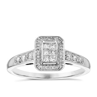 9ct White Gold 1/4ct Diamond Princess Cut Cluster Ring - Product number 4839102