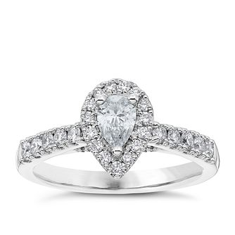Platinum 0.75ct Total Diamond Pear Cut Solitaire Halo Ring - Product number 4840100