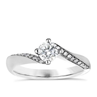 Platinum 1/2ct Diamond Solitaire Twist Ring - Product number 4840836