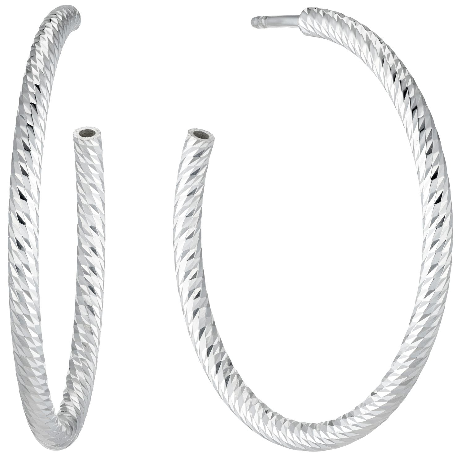 Sterling Silver Diamond Cut 3/4 Hoop Earrings - Product number 4841476