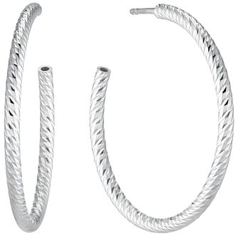 Silver Diamond Cut 3/4 Hoop Earrings - Product number 4841476