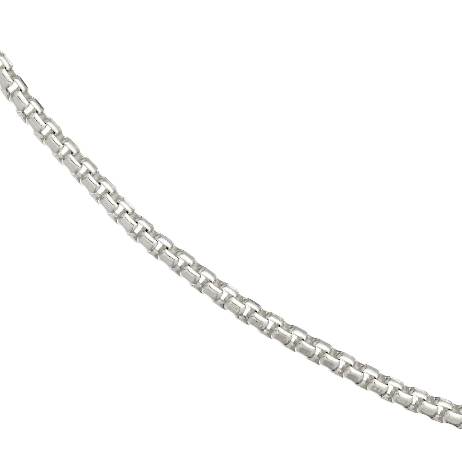Silver Rhodium-Plated Box Chain Necklace 20