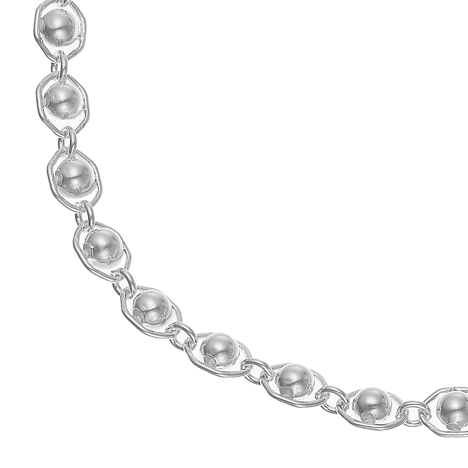 Silver Fancy Bead Link Bracelet 7.5 inches - Product number 4841670