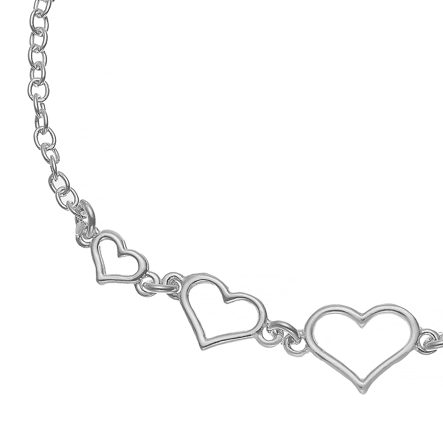 Sterling Silver 5 Heart Bracelet - Product number 4841727