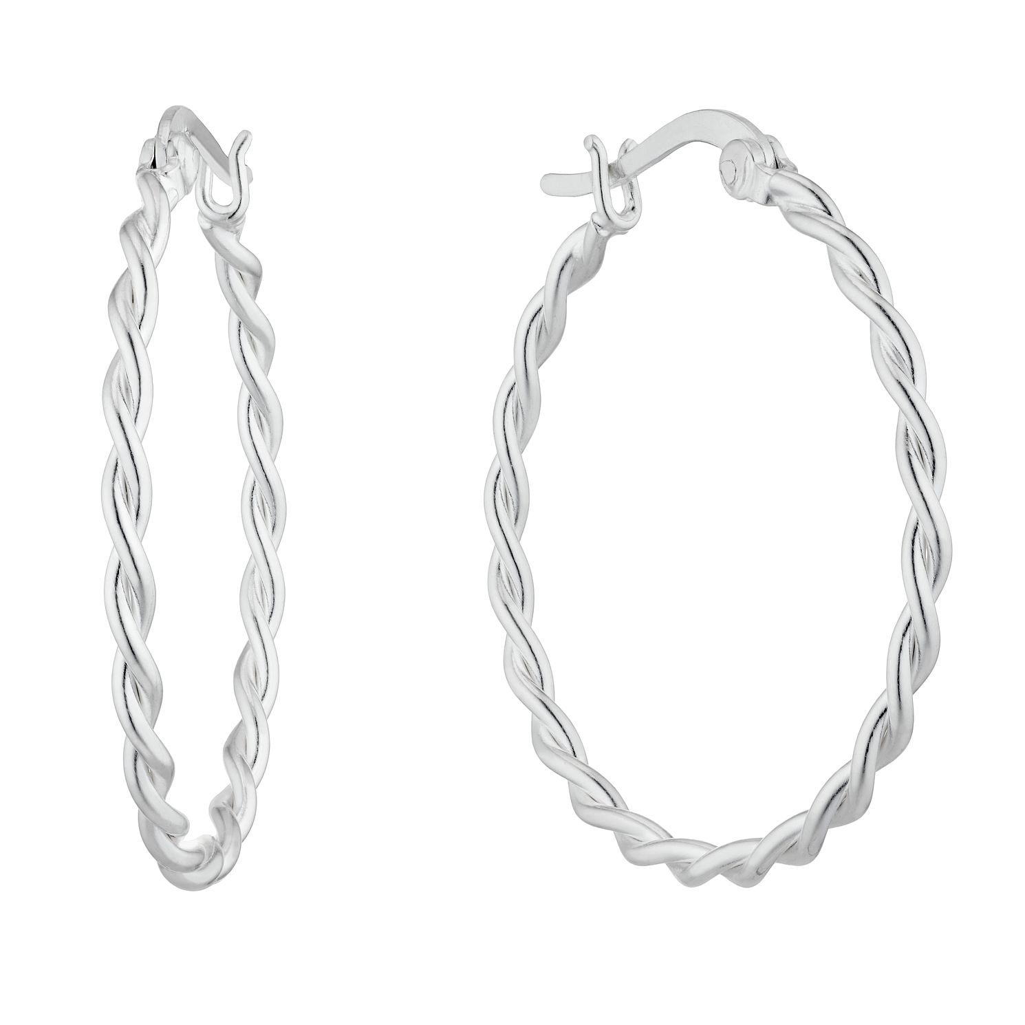 Sterling Silver Braided 27mm Hoop Earrings - Product number 4841972