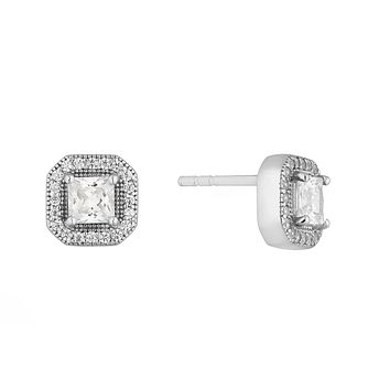 Silver Cubic Zirconia Square Halo Stud Earrings - Product number 4842006