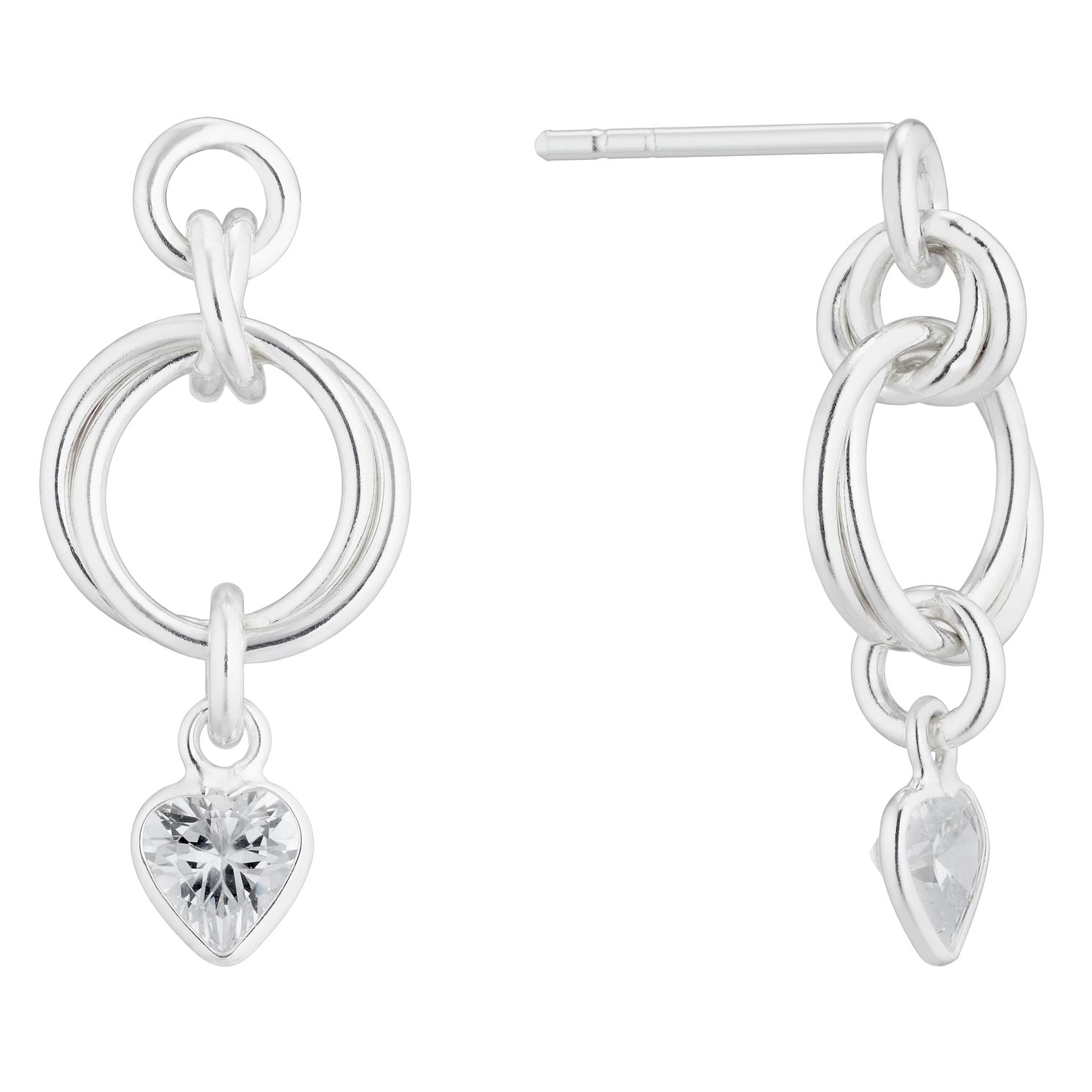Silver Cubic Zirconia Heart & Knot Drop Earrings - Product number 4842022