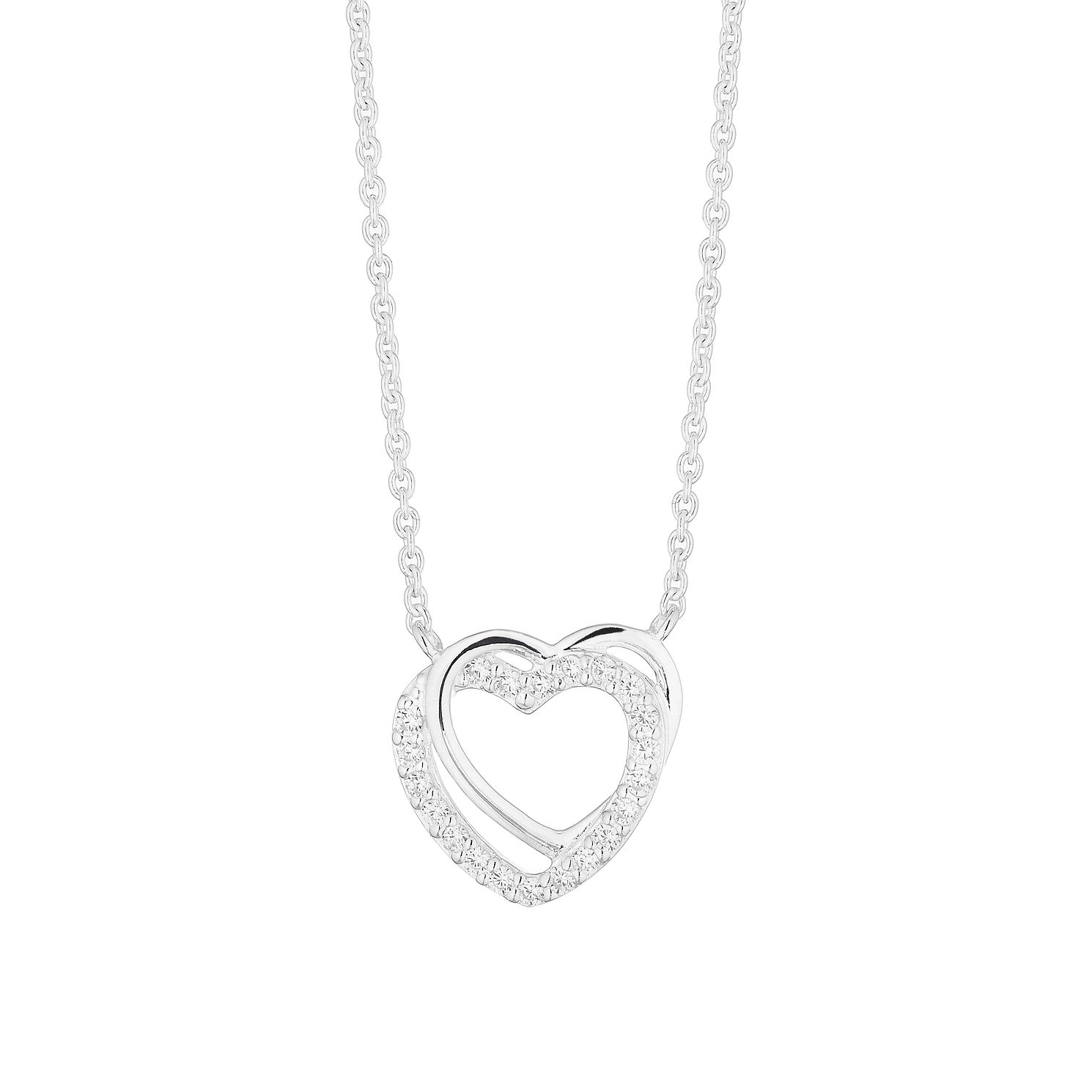 Silver Cubic Zirconia Interlocking Hearts Pendant - Product number 4842057