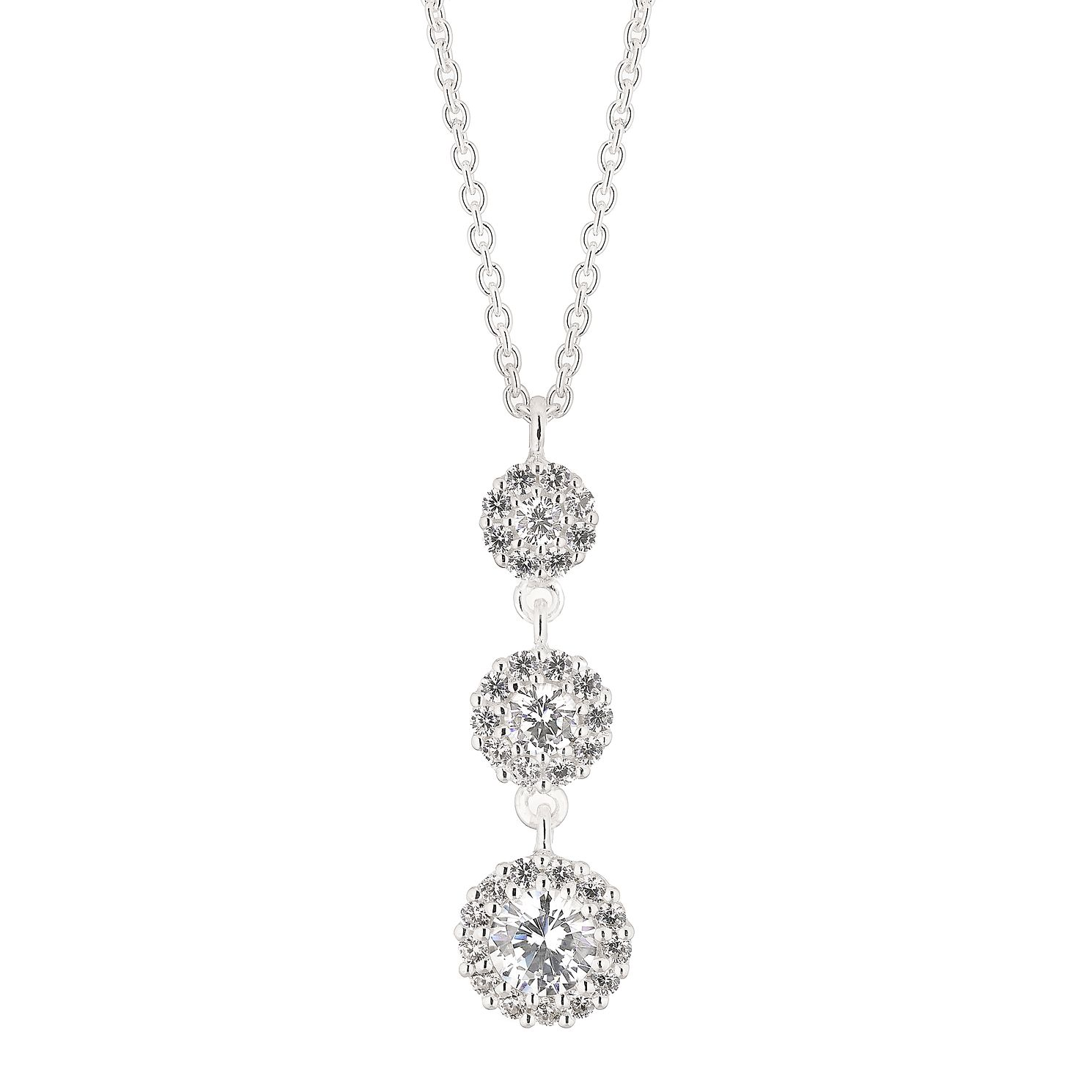 Silver Cubic Zirconia Round Halo Trio Drop Pendant - Product number 4842065