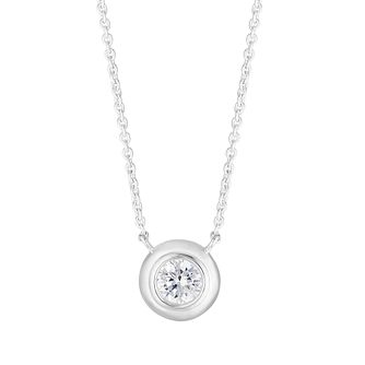 Silver Cubic Zirconia Round Solitaire Necklace - Product number 4842073