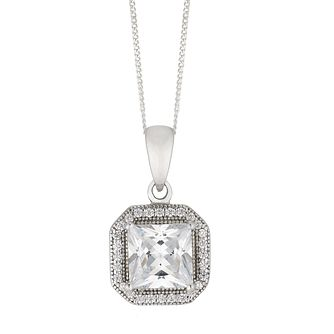 Silver Cubic Zirconia Square Halo Pendant - Product number 4842103