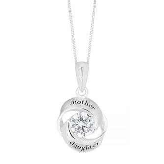Silver Cubic Zirconia Mother & Daughter Pendant - Product number 4842138