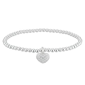 Silver Cubic Zirconia Heart Beaded Stretch Bracelet - Product number 4842189
