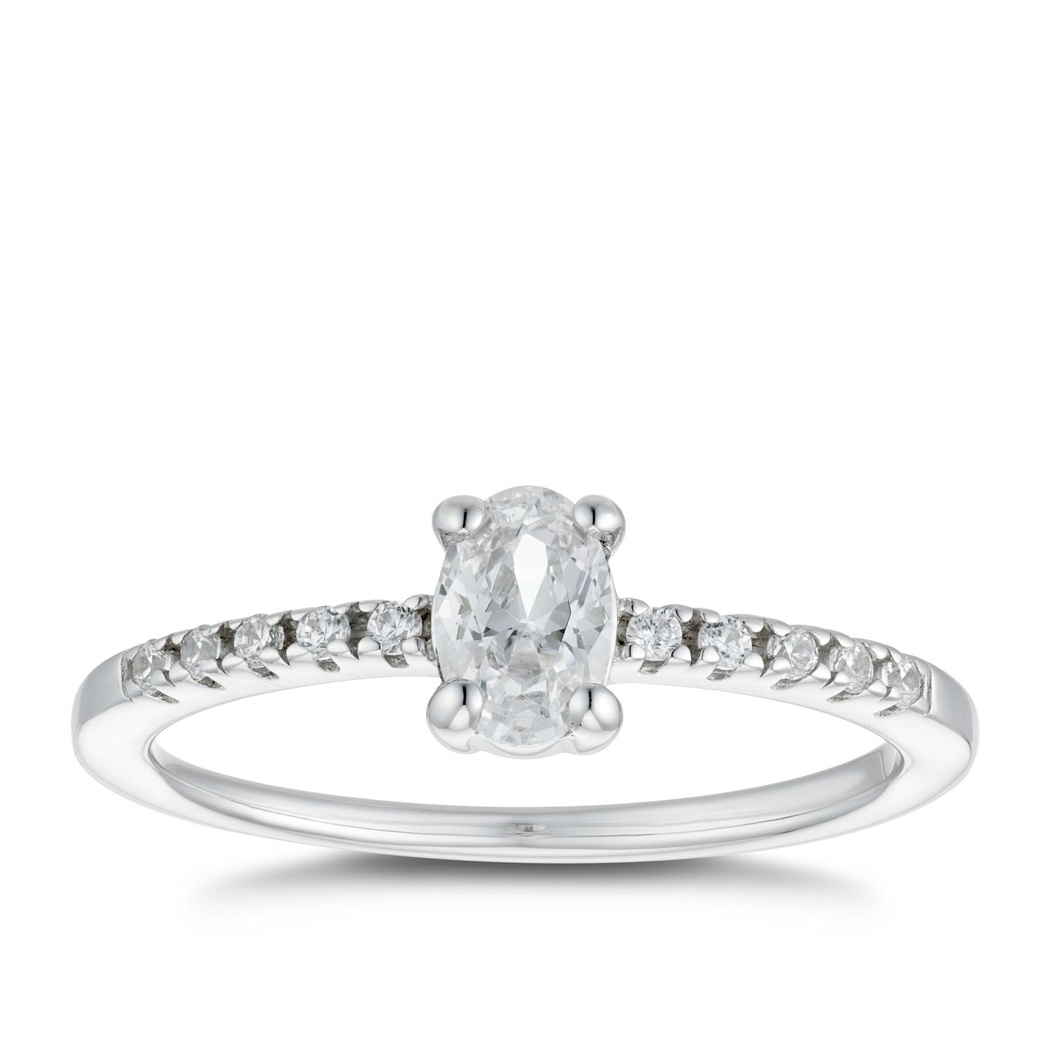 Silver Cubic Zirconia Oval Ring - Size P - Product number 4842219
