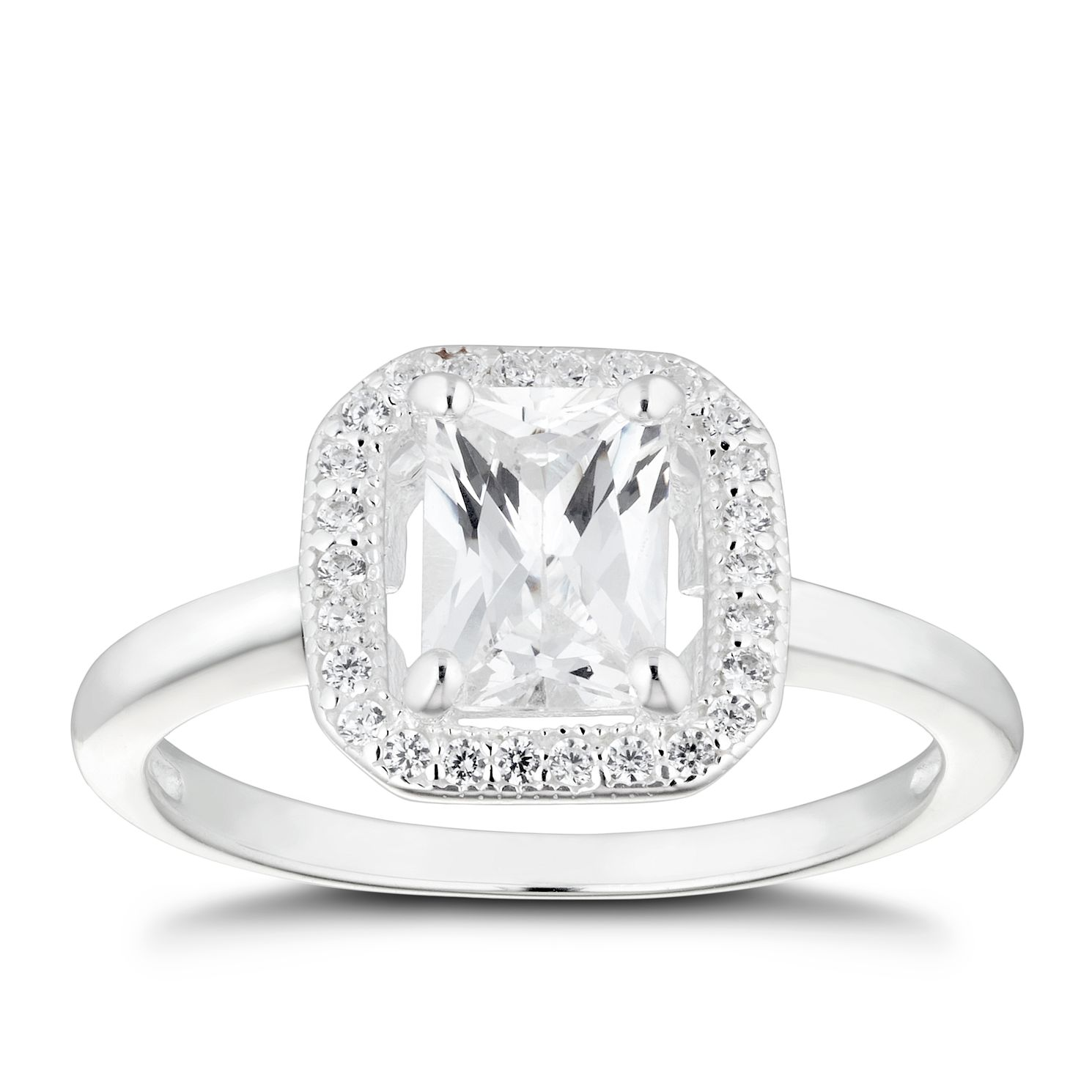 Silver Cubic Zirconia Square Halo Ring - Size N - Product number 4842251