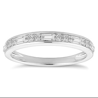 18ct White Gold 1/4 Carat Diamond Half Eternity Ring - Product number 4842278