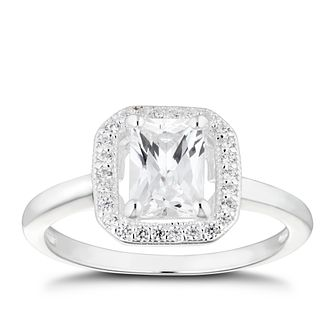 Silver Cubic Zirconia Square Halo Ring - Size P - Product number 4842286