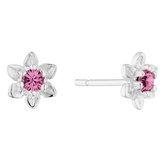 Silver & Pink Crystal Flower Stud Earrings - Product number 4842480